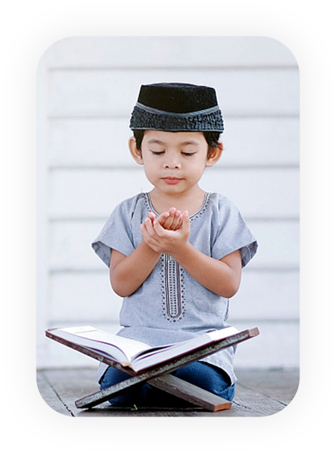 cute kid learning quran
